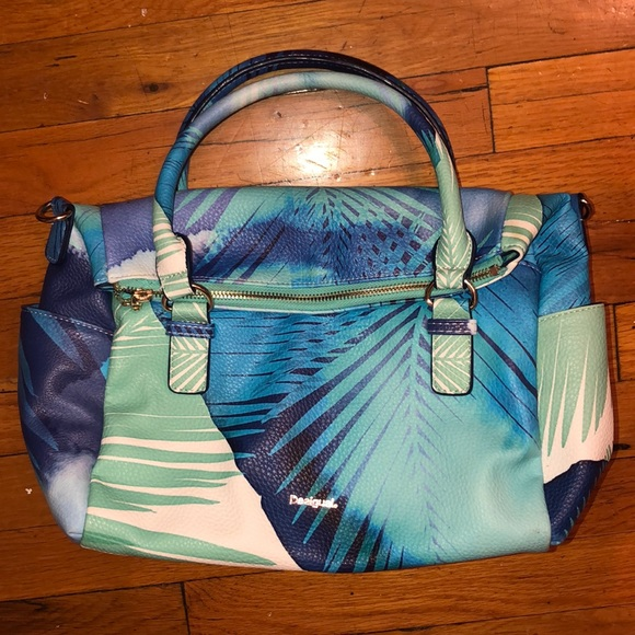 Desigual Handbags - Desigual blue and green tropical print purse